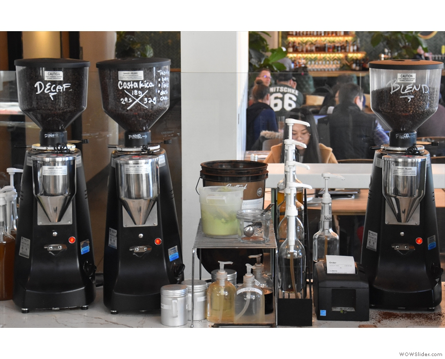 The espresso grinders, meanwhile, are on the far side of the counter.