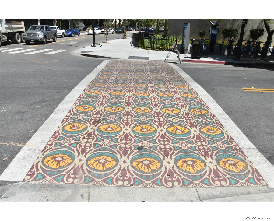 Nothing to do with the market: just the cross-walk, but a very pretty one at that!