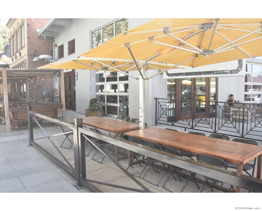 There's more outside seating down the left-hand side, sheltered by further umbrellas.