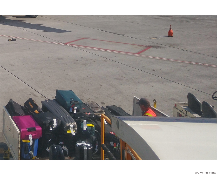 I spy, with my little eye, my bags waiting to go into the hold.