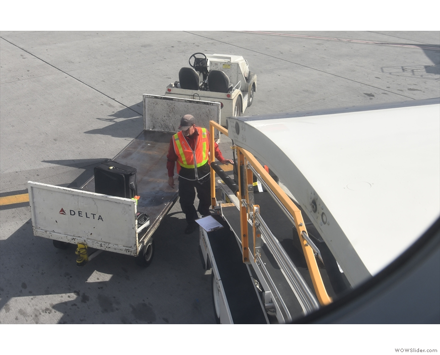 My seat really was ideal for watching the baggage being loaded on.