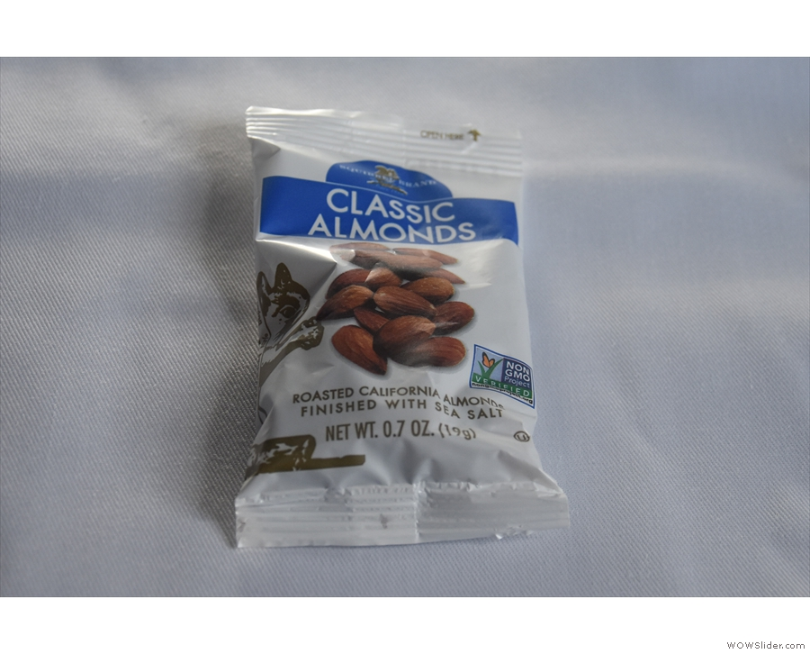 ... and a snack (Californian almonds) had been served.