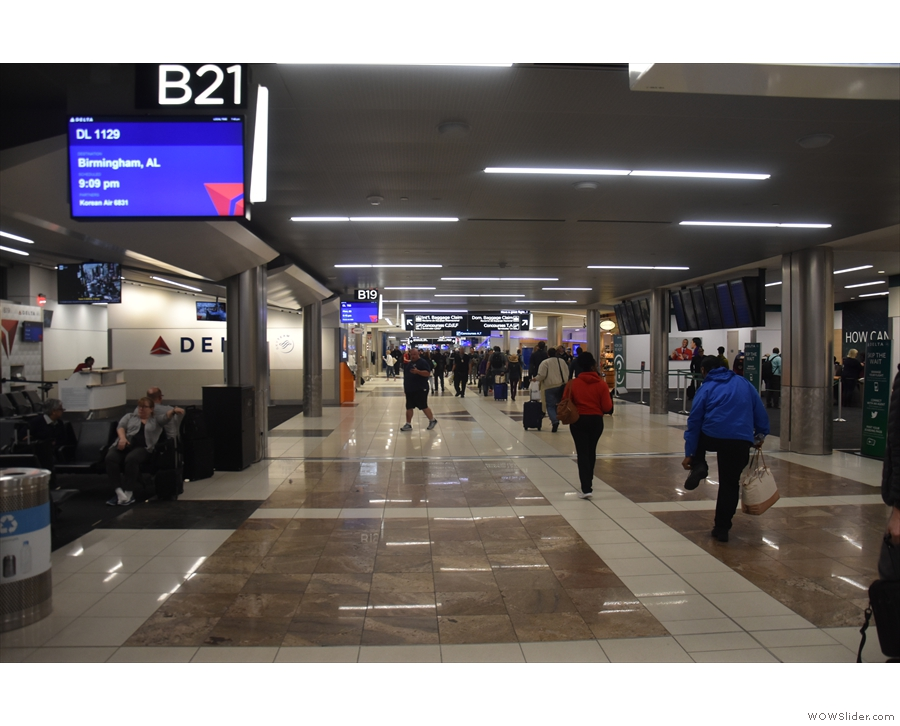 The B Concourse at Atlanta airport, essentially a long corridor with lots of gates.