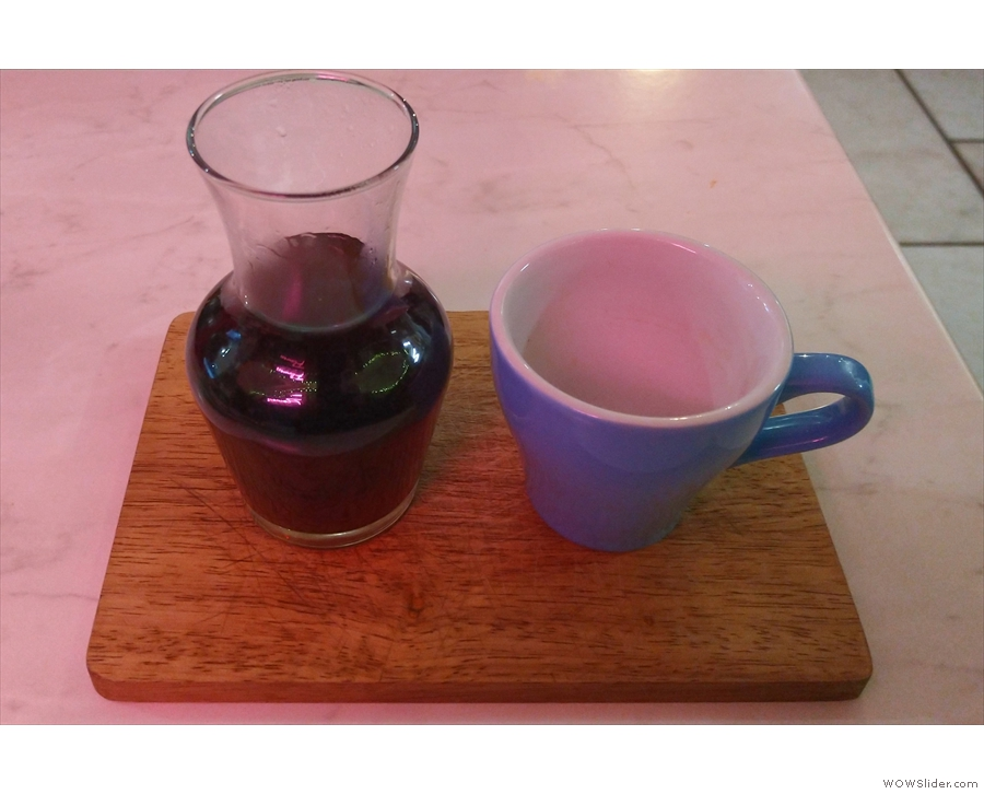 ... which I paired with a single-origin Rwandan filter, served in a carafe, with a cup...
