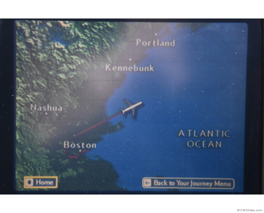 This was our route over Boston, then out in a straight line over the Atlantic Ocean...