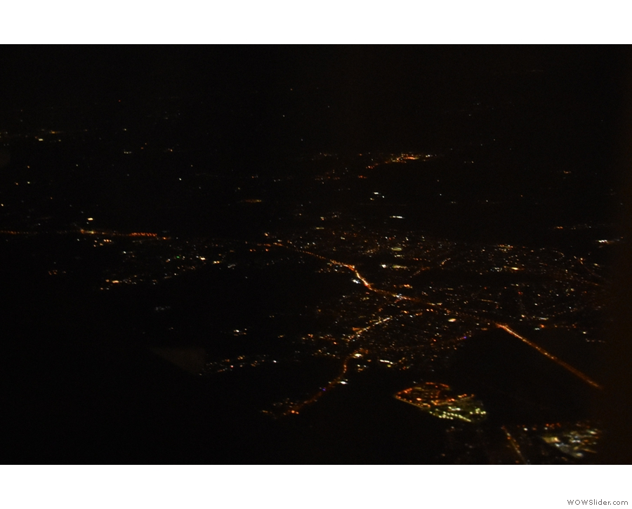 By now, we'd flown past Heathrow and were heading east, over London...