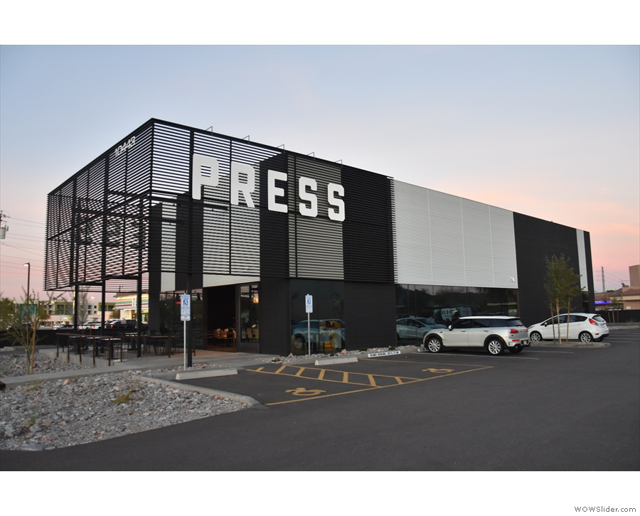 The new Press Coffee Roastery, as seen heading north on 32nd Street, Phoenix.