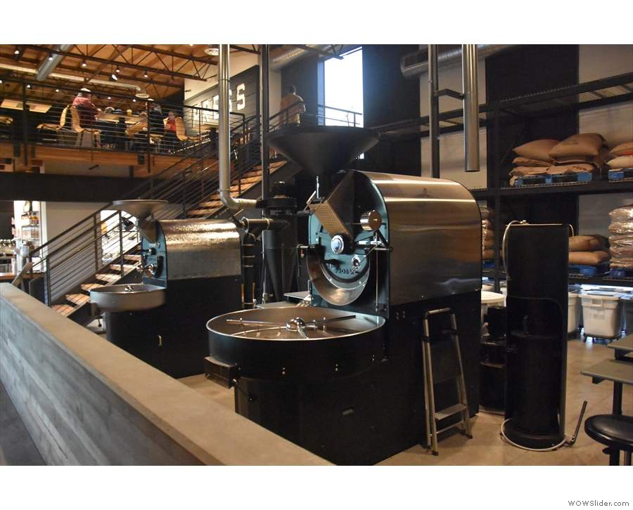 The roastery, seen from the other end, with the mezzanine beyond.