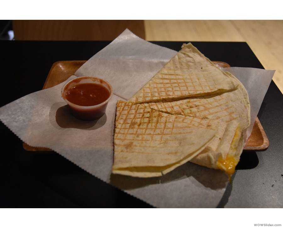 On my first visit, I had quesadillas. I also had coffee, which I had to collect at the counter.