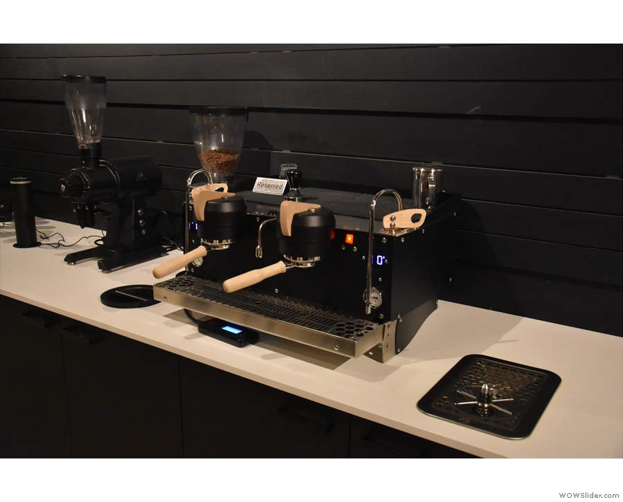 This has its own custom Synesso espresso machine, which I assume is for events.