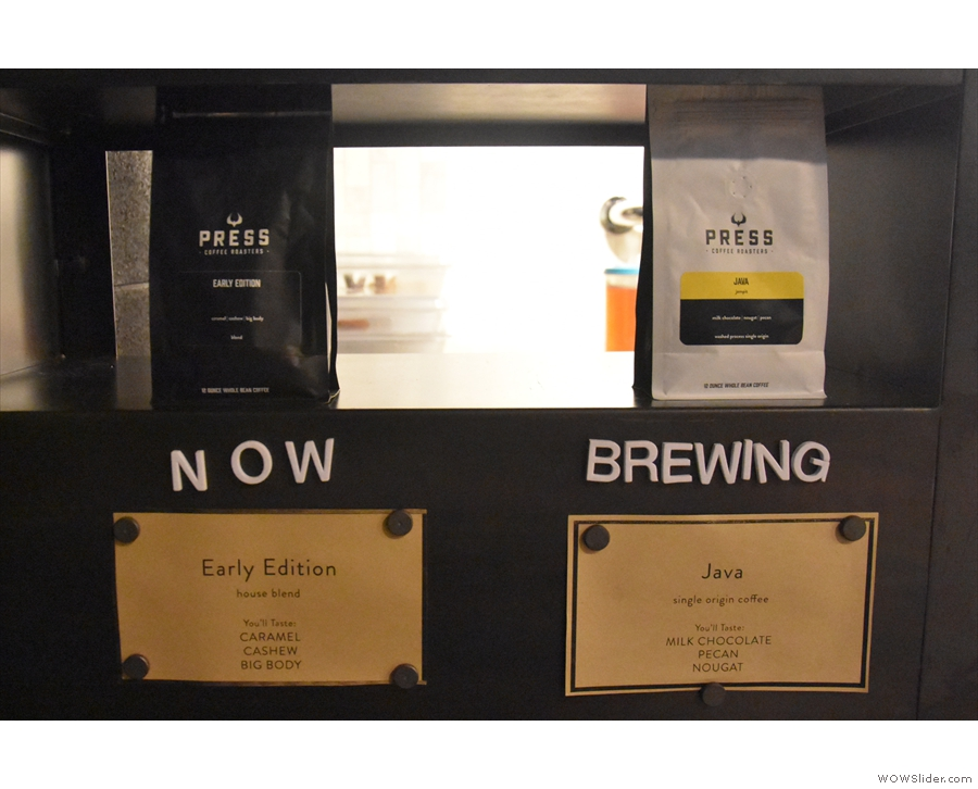 There's also the choices for batch brew, which is usually a blend and a single-origin.