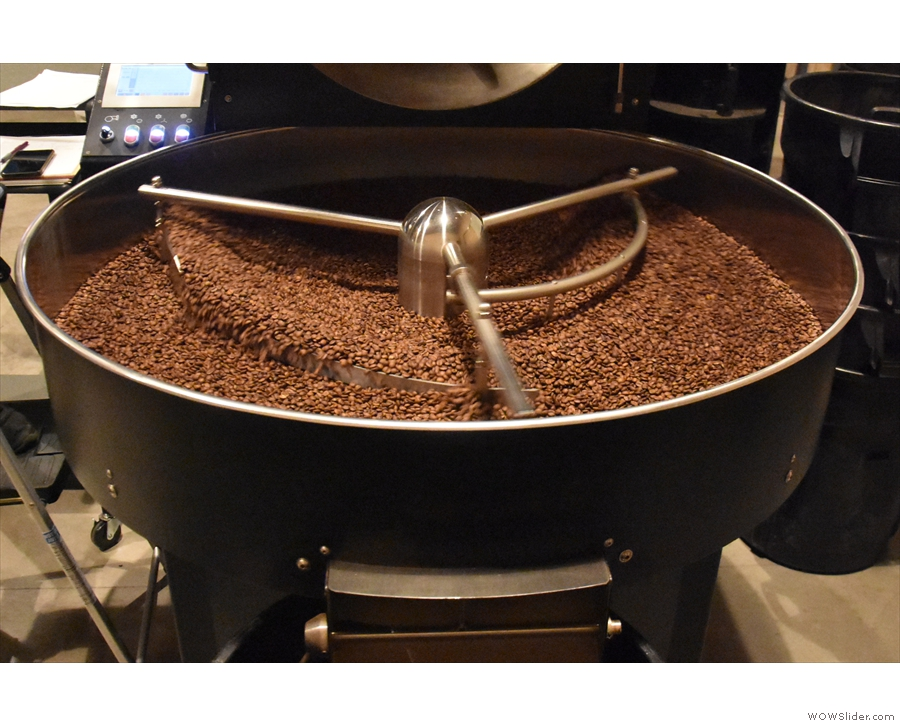 One batch (part of an espresso blend) was cooling in the tray...