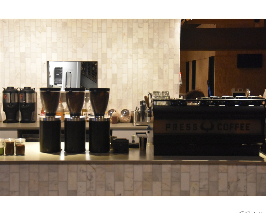 Next comes the custom Synesso and its three grinders (blend, single-origin and decaf)...
