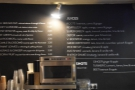 This is the domain of the juicer, with the menu on the wall behind, along with the tea.