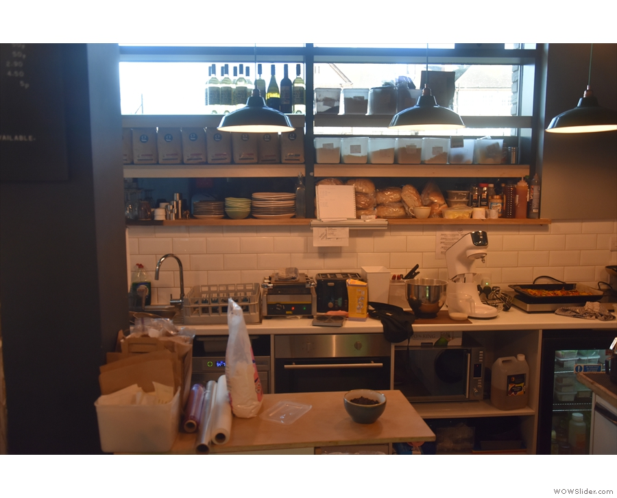 ... in this open kitchen behind the counter.