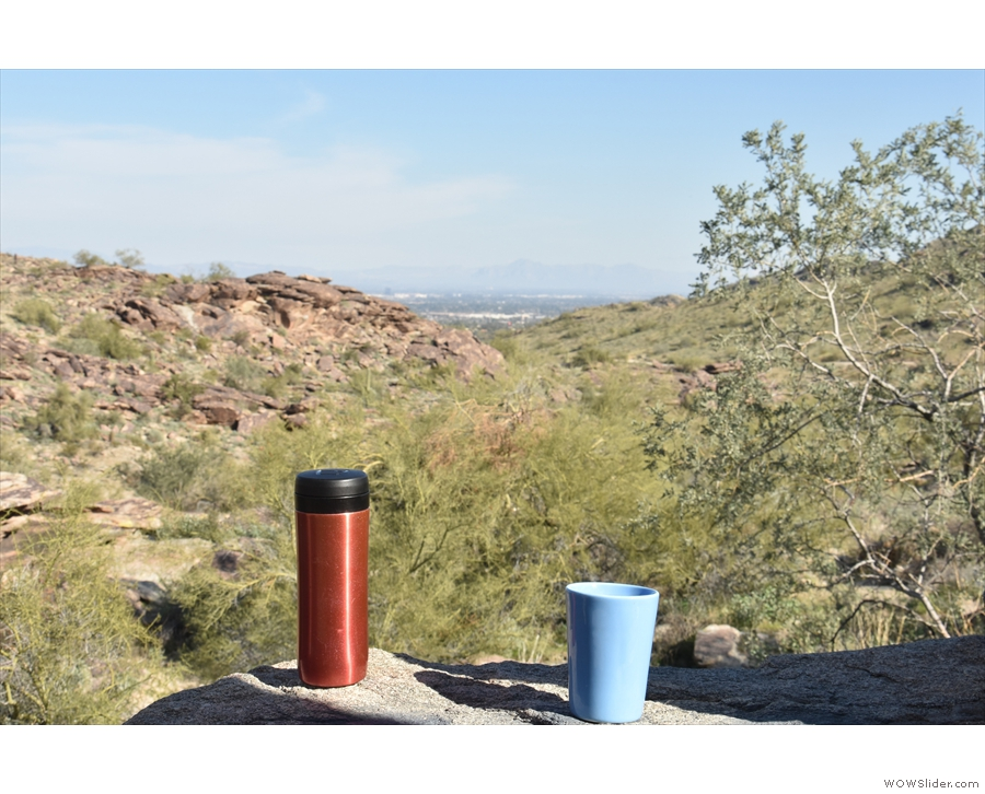 I hiked along Pima Canyon in South Mountain (this is the view back down the canyon)...