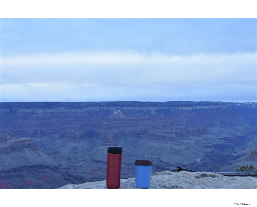 Finally, with the light fading, my Therma Cup takes in the grandeur of the canyon.