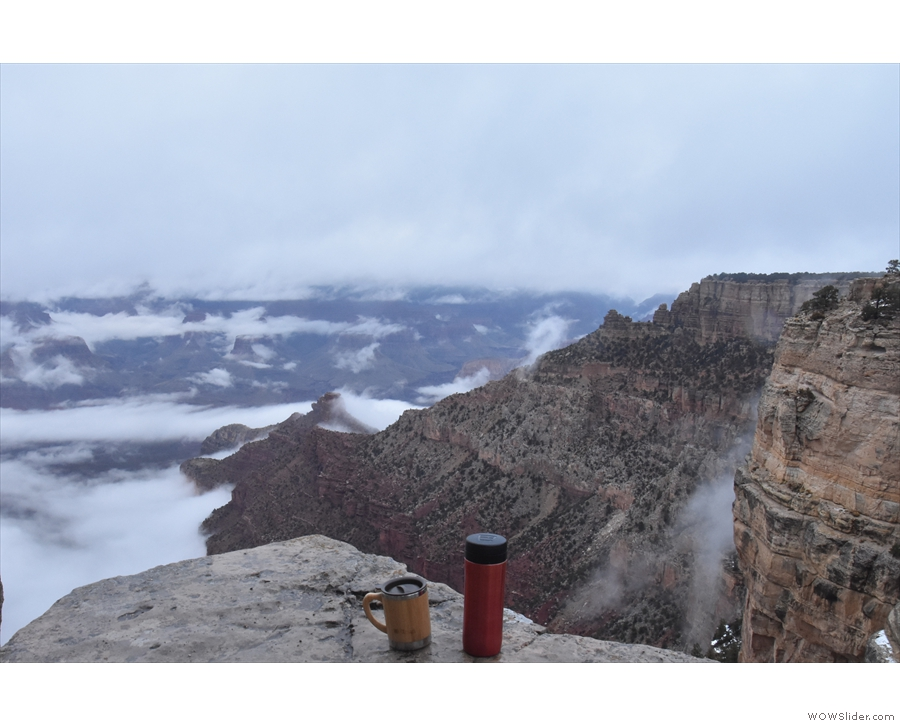 When I got back to the rim, the clouds had sunk into the canyon. The Kaibab Trail...