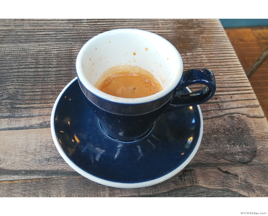 ... it and had an espresso, served in an oversized, classic black cup.