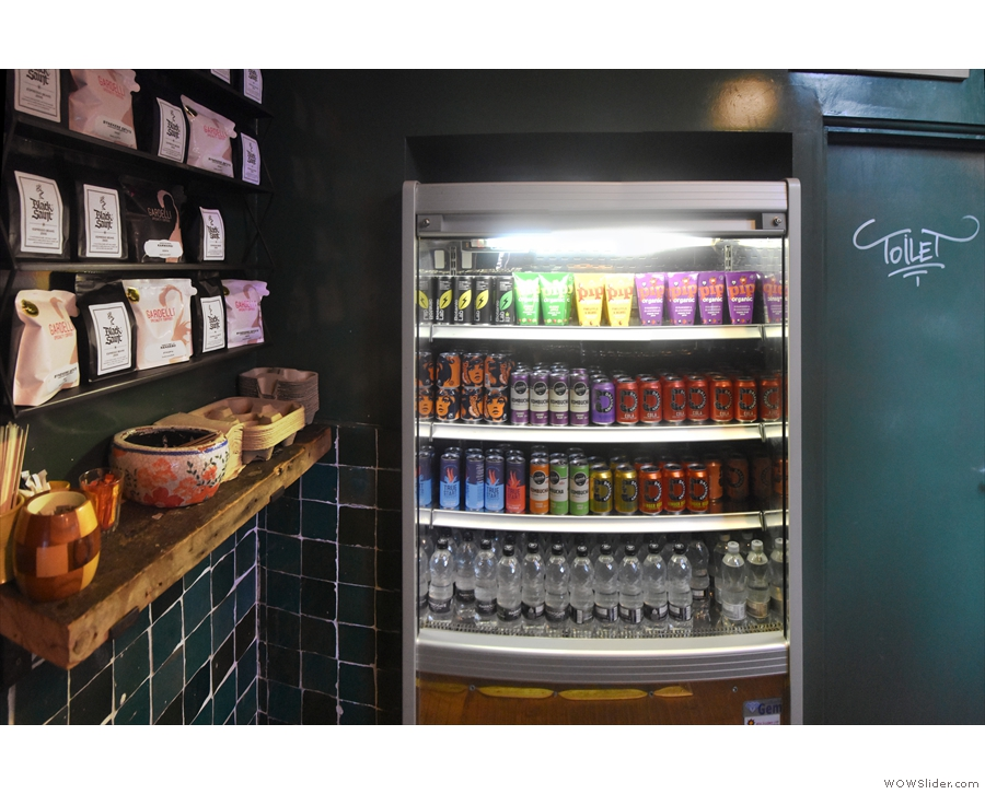 Stepping insde, you're greeted by the chiller cabinet and, to your left, retail shelves.