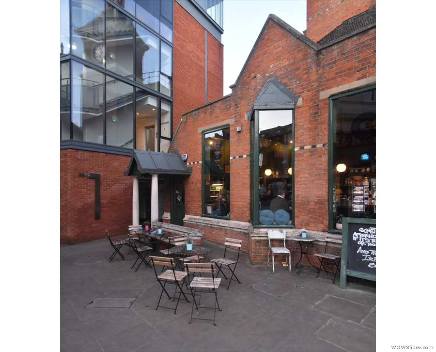 The entrance is at the back on the left, which is also where you'll find the outdoor seating.