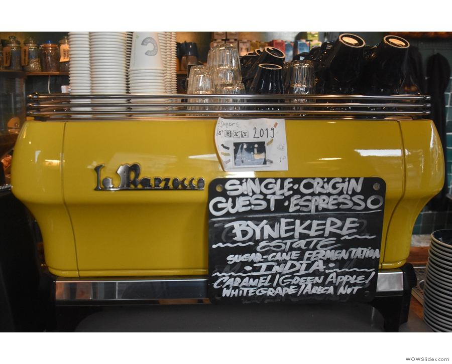 Pride of place goes to the yellow La Marzocco FB80...