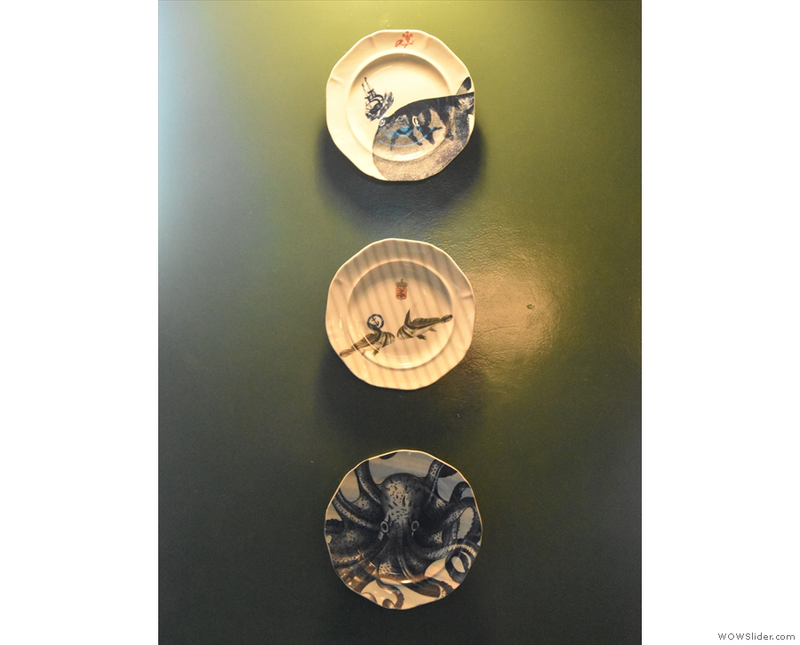 There's some interesting decoration in Coffeeology, including these painted plates.