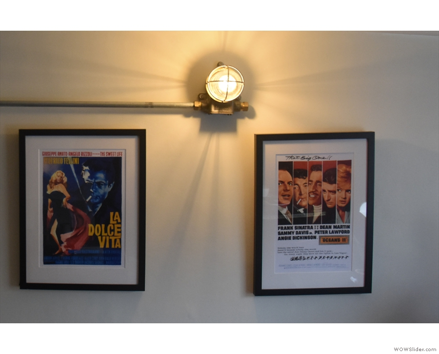 There are lots of neat features upstairs, where there are viintage movie posters on the...