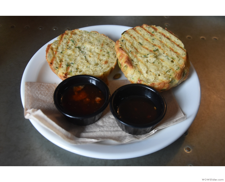 This was mine: the cheese and chive courgette muffin, with chilli jam on the side.