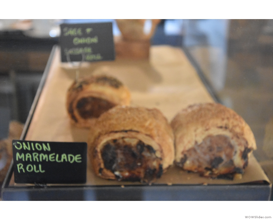 ... as well as some savouries, such as these onion marmelade sausage rolls...