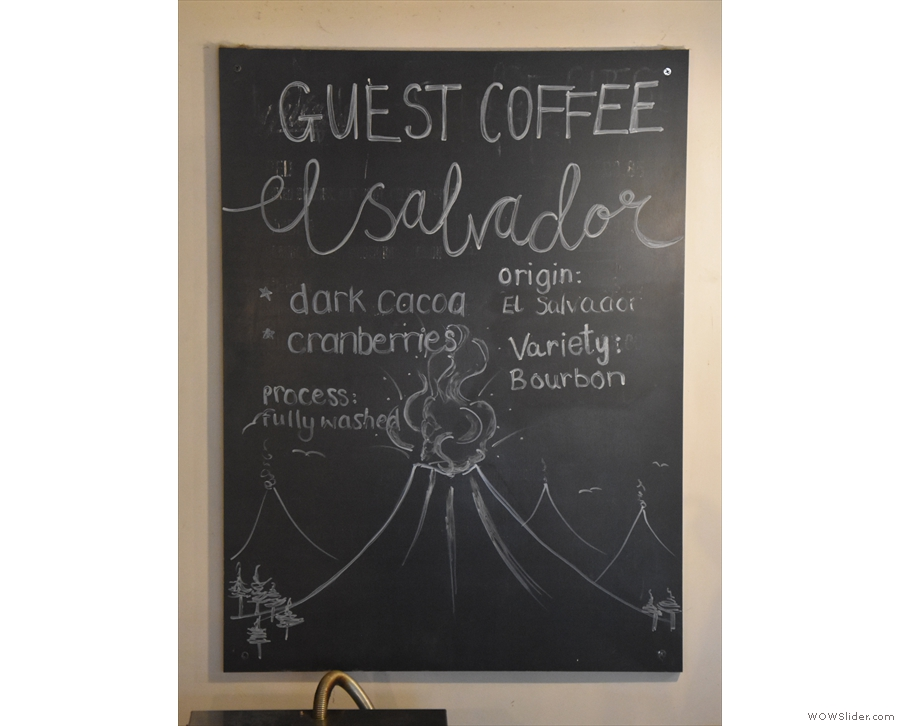 ... while there's a monthly guest coffee (also from Ue), with details on the back wall.