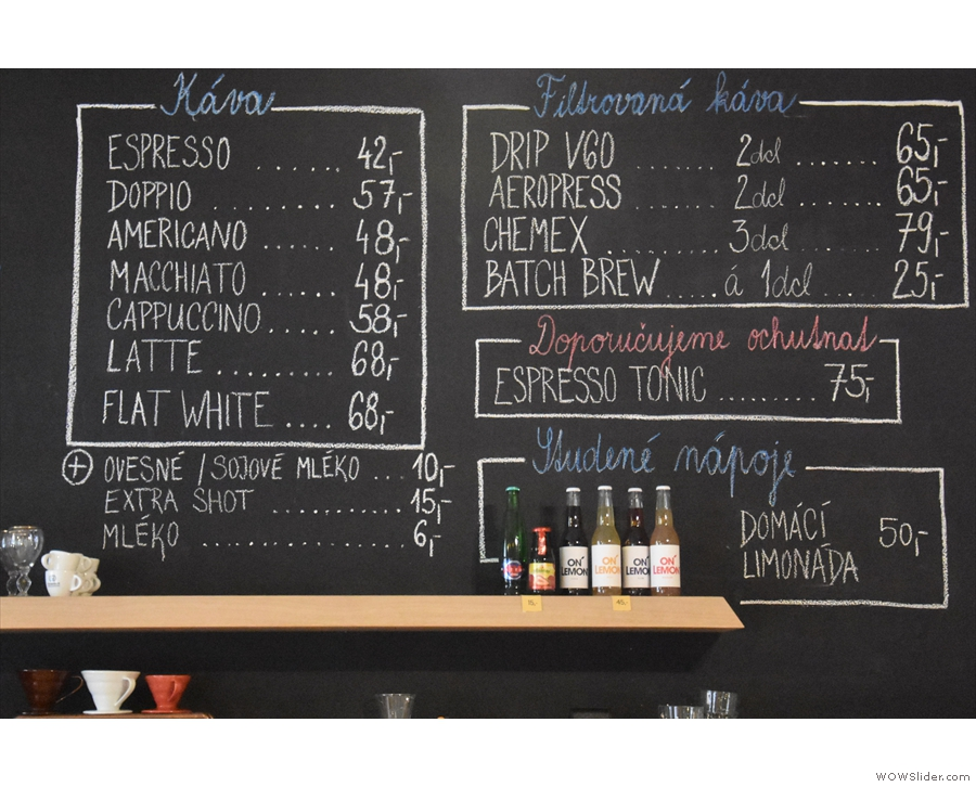 There's a concise espresso-based menu, plus various filter options...