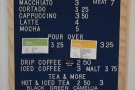 The comprehensive menu gives you the pour-over choices, as well as the batch brew...