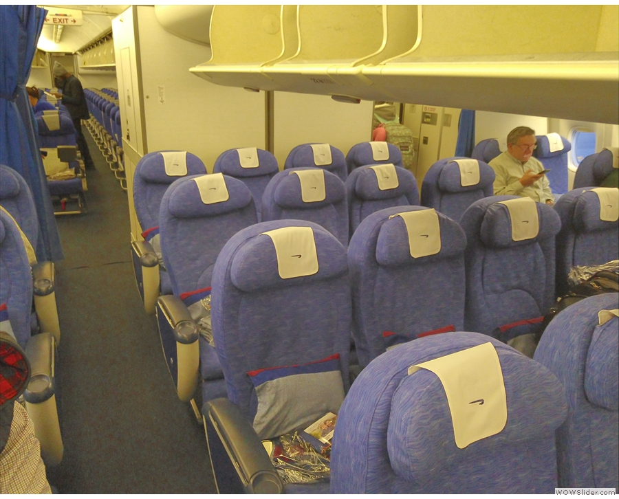 ... where I was in my proper seat in World Traveller Plus (premium economy to you & me).