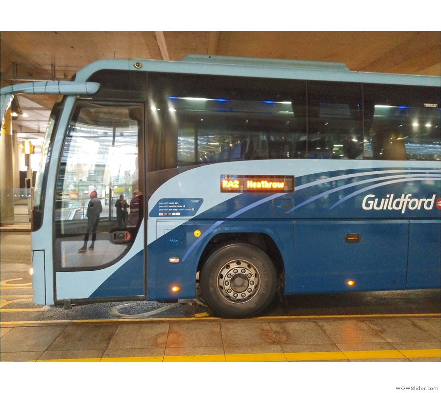 Amanda and I caught the RailAir coach (seen here at Heathrow) from Guildford station.