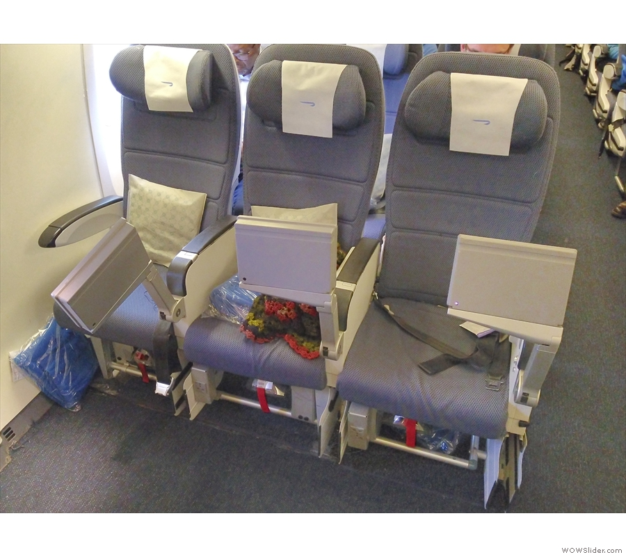 Although travelling in the back of the plane, we were sitting right at the front of the back.