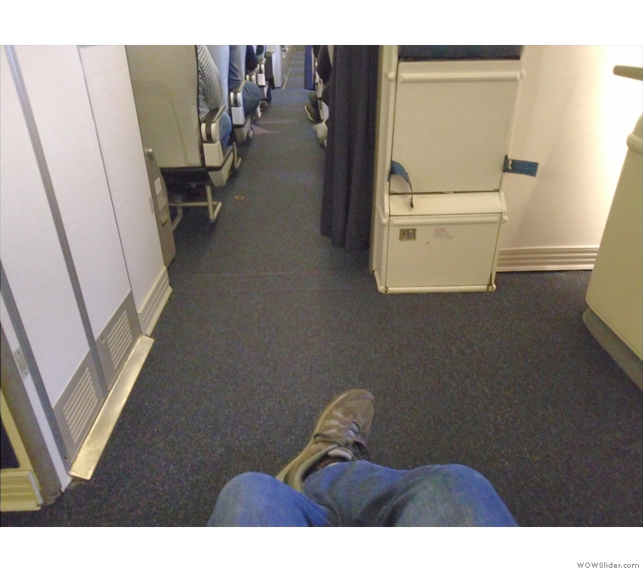 Behold my legroom. It doesn't get much better than this!