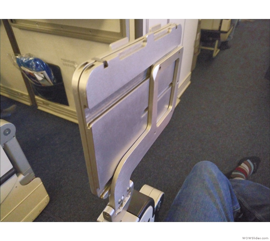 Finally, there's the table. This hinges out of the armrest...