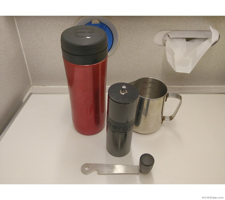 ... where the changing table provided a stable surface for my TravelPress and Aergrind.