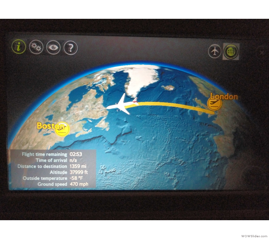 We took a fairly northerly route, coming close to the southern tip of Greenland, which is...
