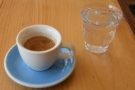I also tried the coffee as an espresso, served with a glass of sparkling water on the side.