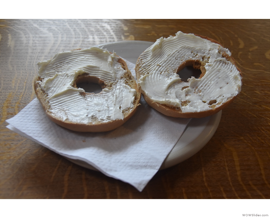 ... which I had toasted with cream cheese.