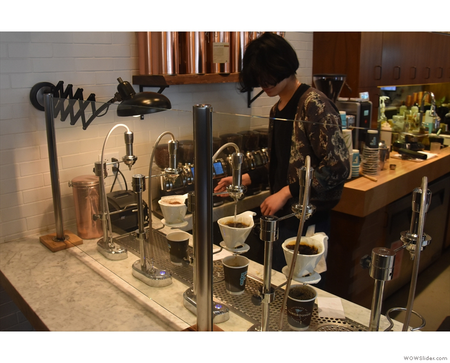 Finally, I had a pour-over. Fairgrounds uses the Modbar system with Beehouse Drippers.