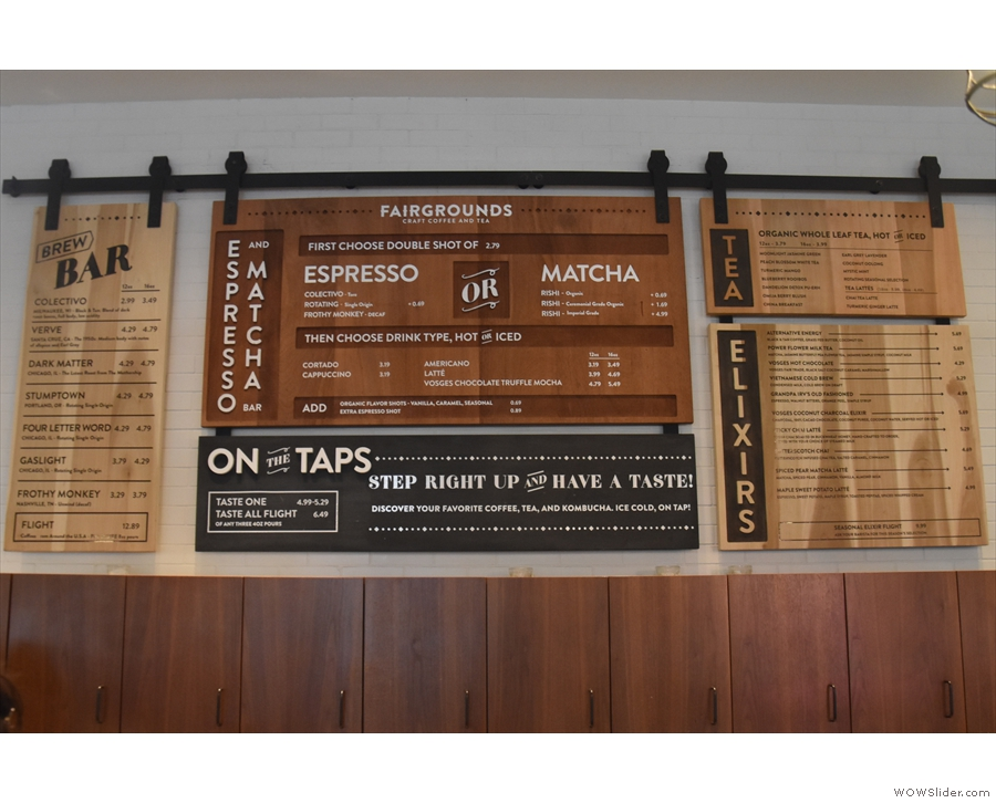 The comprehensive menu, meanwhile, is on the wall above/behind the counter.