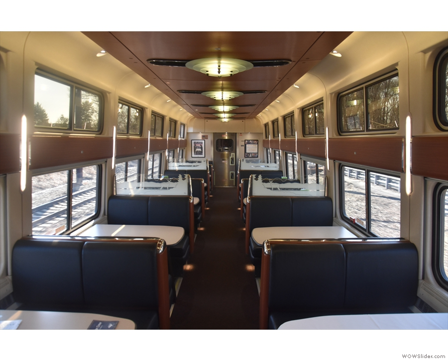 ... dining car. On previous trips this had been bustling with activity. On this trip: empty.