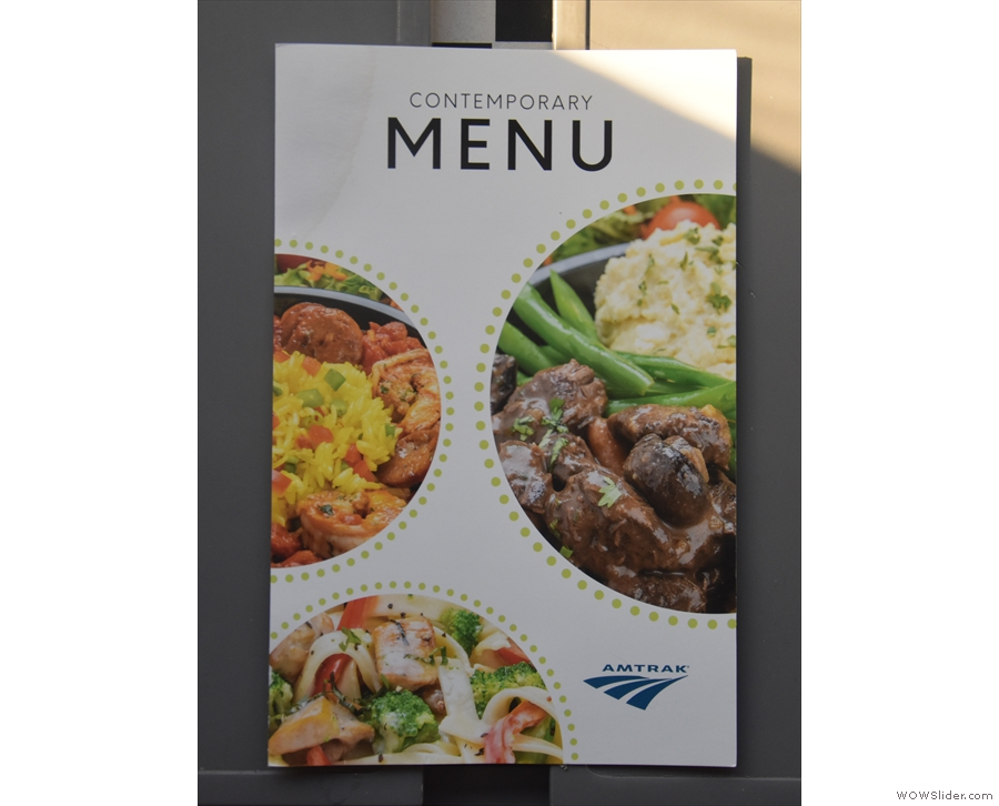 Amtrak's new 'Contemporary' Menu on its Viewliner services.