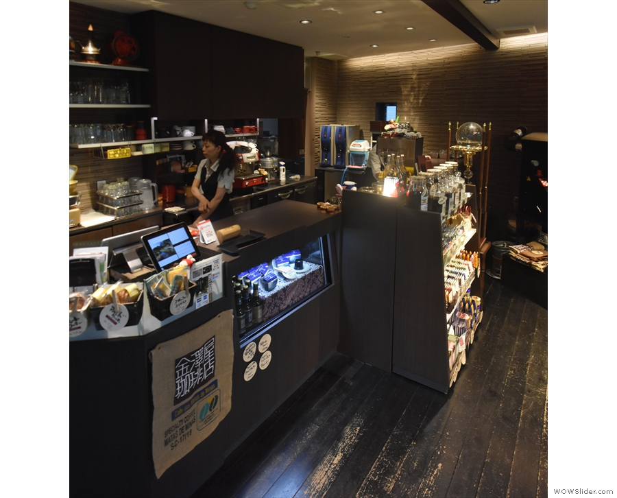 The counter runs all the way across the back of the room, with a large retail section...