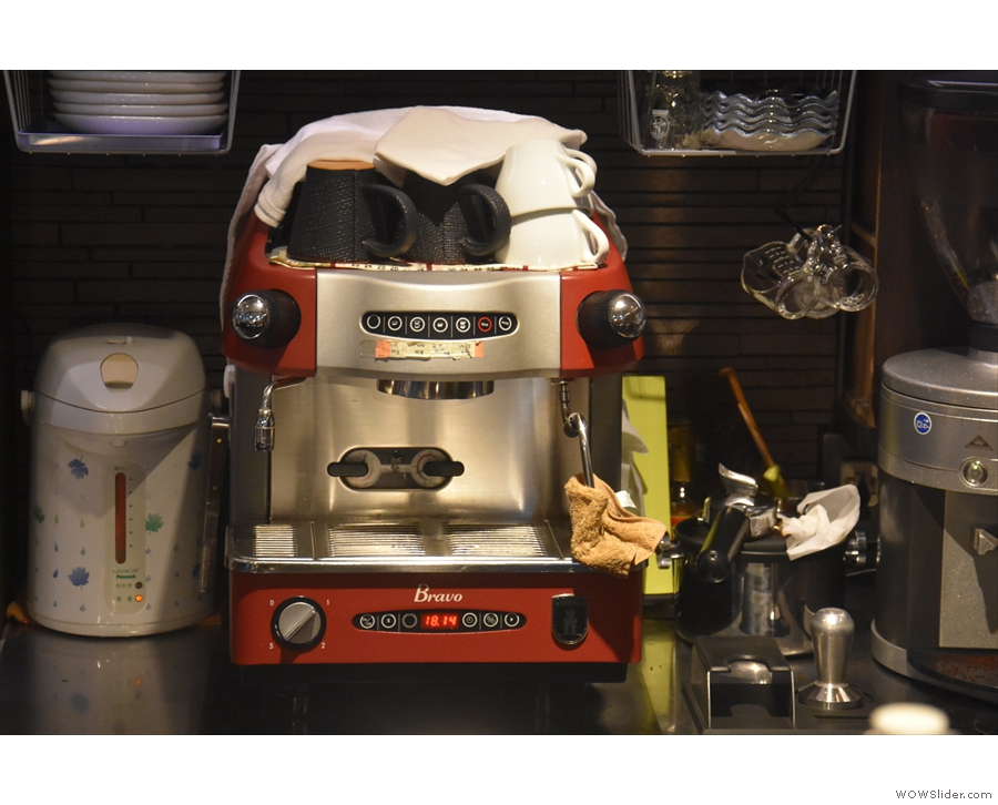 Right at the back is the dinky one-group espresso machine.