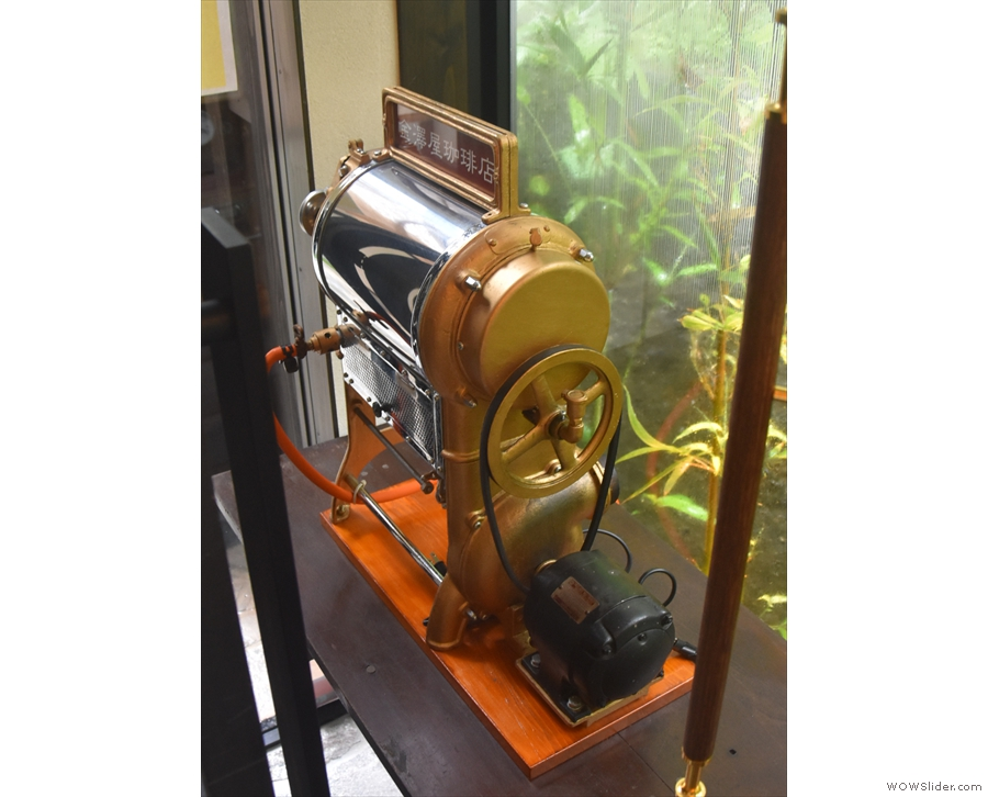 ... this vintage open flame roaster (no longer in use) is on display in the entrance hall.