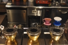 Coffee preparation is on the left. There's a row of IR heaters for the syhpons...